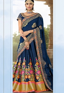 Navy Blue Banarsai Silk Jacquard Embroidered A line Lehenga Choli - 12002