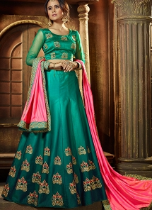 Teal Satin Silk A-line Lehenga Choli - 18