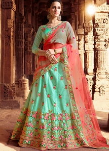 Topnotch Sky Blue Satin Silk A-line Lehenga Choli - 2008