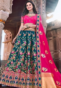 Pink & Blue Art Silk Printed Rajwadi Lehenga Choli - 2711