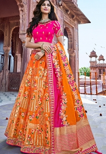Pink & Orange Embroidered Rajwadi Circular Lehenga Choli - 2712