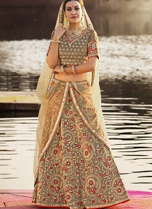 Flamboyant Grey Shade Silk Embroidered A-line Lehenga Choli - 34