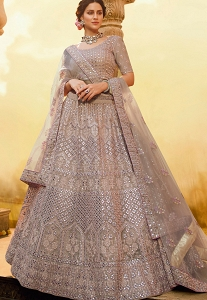 Onion Grey Crepe Embroidered Lehenga Choli - 3802