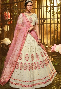 White Georgette Embroidered Lehenga Choli - 3901