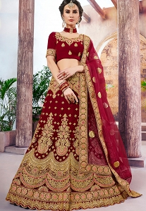 Maroon Velvet Embroidered Lehenga Blouse With Embroidery Net and Heavy Border Dupatta-4001