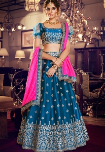 Dark Blue Satin Silk Embroidered Lehenga Choli - 4159