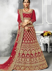 Stunning Embroidered Red Velvet A-line Bridal Lehenga Choli - 44233