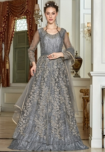 Grey Net Embroidered Lehenga Style Anarkali Suit - 4565