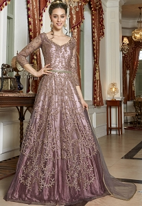 Light Mauve Net Embroidered Lehenga Style Anarkali Suit - 4566