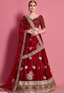 Maroon Velvet Silk Embroidered Lehenga Choli - 4603