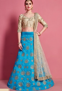 Beige & Blue Art Silk Embroidered Lehenga Choli - 4604