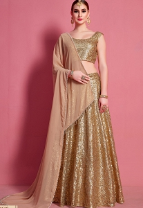Gold Net Sequins Embroidered Lehenga Choli - 4610