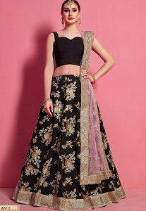 Black Crepe Silk Floral Embroidered Lehenga Choli - 4612