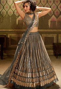 Grey Net Sequins Embroidered Lehenga Choli - 5005