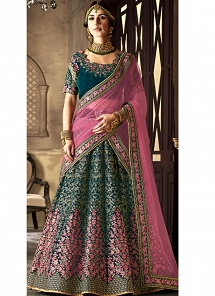 Teal Velvet A-line Embroidered Lehenga Choli - 5113