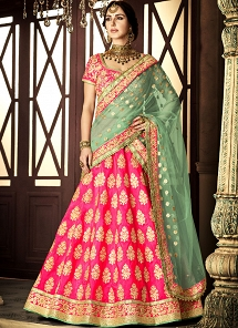 Rani Pink Silk A-line Embroidered Lehenga Choli - 5114