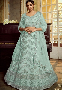 Sea Blue Soft Net Embroidered Wedding Lehenga Choli - 5407