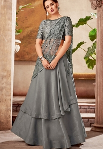 Dark Grey Velvet Silk Embroidered Designer Lehenga Choli - 5725