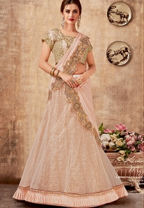 Light Pink Net Silk Embroidered Lehenga Choli - 5736