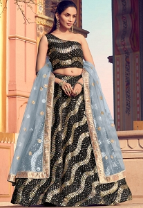 Black Imported Sequins Embroidered Lehenga Choli - 5805