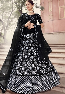 Black Net Sequins Embroidered Lehenga Choli - 5901