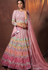 Pink Georgette Embroidered Lehenga Choli - 6310