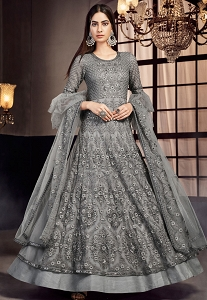 Grey Net Embroidered Lehenga Style Anarkali Suit - 7505