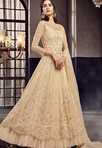 Cream Net Embroidered Lehenga Style Anarkali Suit - 7510