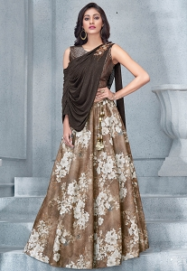 Brown Lycra & Sequins Designer Lehenga Choli - 7905