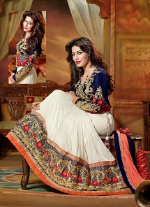 Awesome  White & Blue Faux Georgette Unique Reception Lehenga