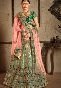 Green Satin Wedding Lehenga Choli - 8001