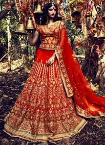 Fabulous Orange Taffeta Silk Lehenga Choli