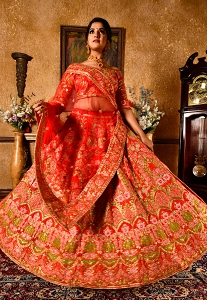 Red Art Silk Heavy Embroidered Bridal Lehenga Choli - 9974