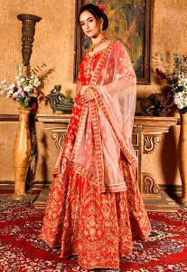 Red Art Silk Embroidered Bridal Lehenga Choli - 9977