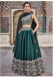Green Silk Heavy Embroidered A-line Lehenga Choli - AF2107