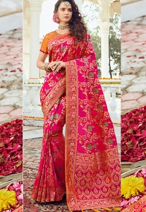 Pink & Orange Art Silk Traditional Saree - 10038