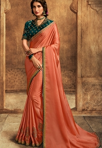 Peach Art Silk Embroidered Saree - 102