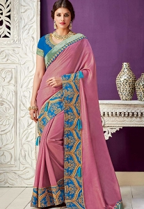 Pink Silky Georgette Patch Border Designer Saree - 10208