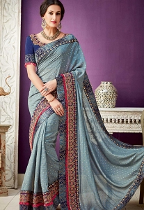Grey Shade Silky Georgette Designer Saree - 10212