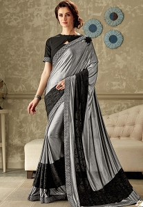 Grey & Black Embroidered Lycra Saree with Raw Silk Blouse - 10706