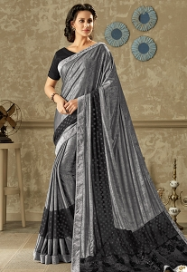 Grey & Black Embroidered Lycra Saree with Dupion Silk Blouse - 10708