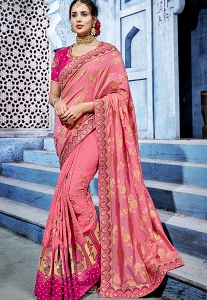 Pink & Magenta Silk Embroidered Designer Saree - 1105