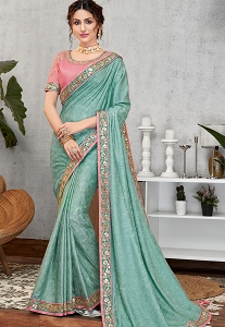Evening Blue Jacquard Silk Embroidered Saree - 11406