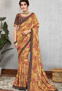 Mustard Silk Georgette Printed Embroidered Saree - 11415