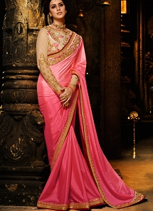 Awesome Pink Chinon Embroidered Saree - 1155