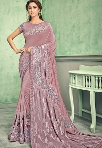 Onion Pink Lycra Designer Embellished Saree - 11605