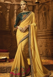 Mustard Silk Embroidered Party wear Saree - 1186