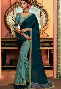 Multi Color Handloom Silk Embroidered Saree - 4176