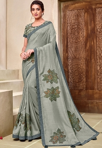 Grey Art Silk Flower Printed Saree - 11916