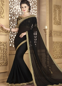 Black Fancy fabric Lace Work Designer Saree  - 12011